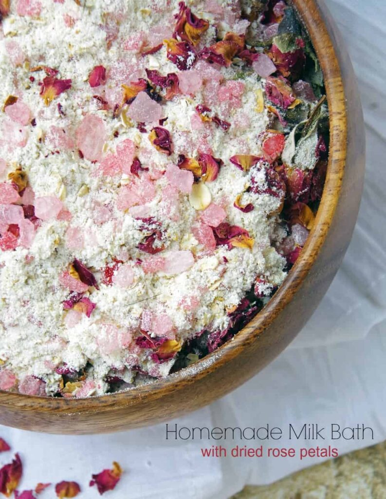 Easy Homemade Milk Bath Recipe with Dried Red Rose Petals