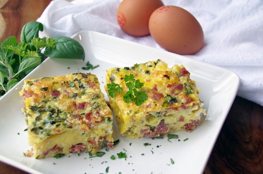 Ham and Cheddar Frittata Squares Recipe with Fresh Herbs
