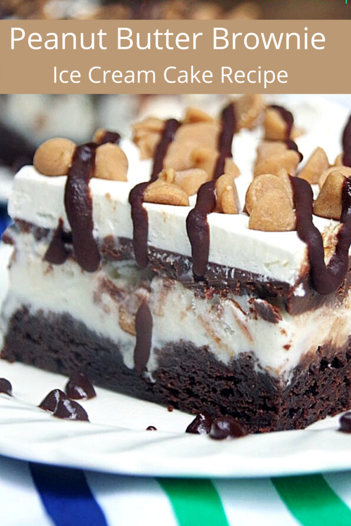 brownie ice cream cake slice on a white plate