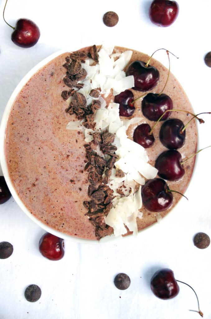 Dark Chocolate smoothie bowl with fresh cherries