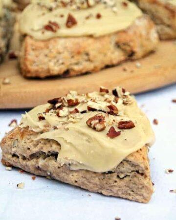Banana Bread Scones Recipe with Easy Maple Glaze