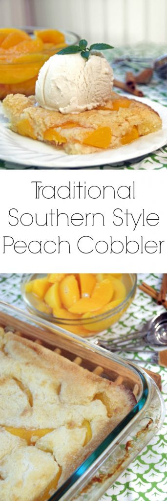Traditional Southern Peach Cobbler Recipe with canned peaches. A delicious and easy southern dessert recipe your whole family will love.