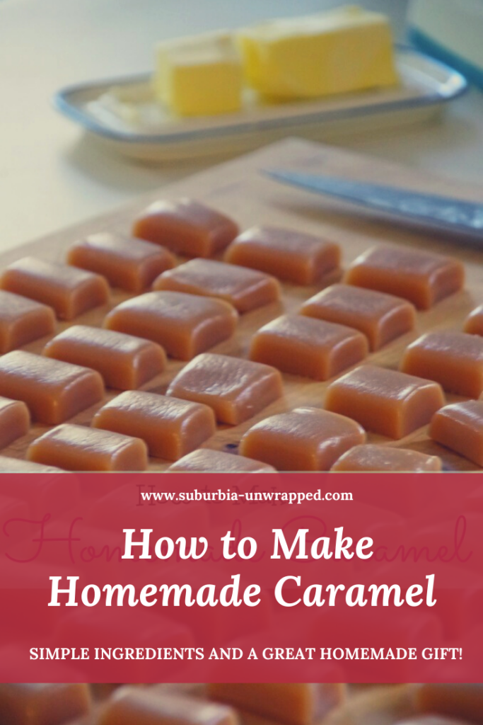 homemade caramel with butter in the background