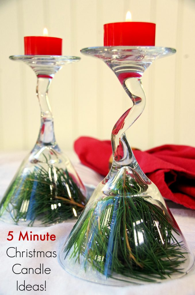 5 minutes Christmas Candle Decorating Ideas with Wine Glasses