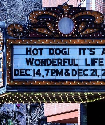 Christmas movie on theater marquee
