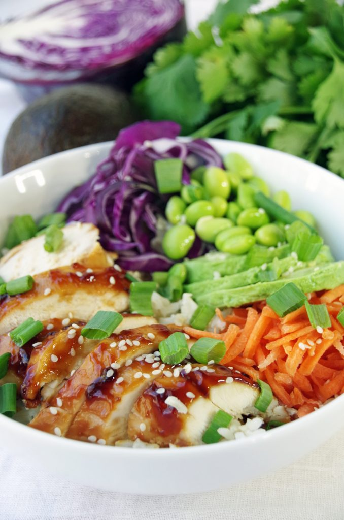 Easy Rice Bowl Recipe with Chicken and Edamame
