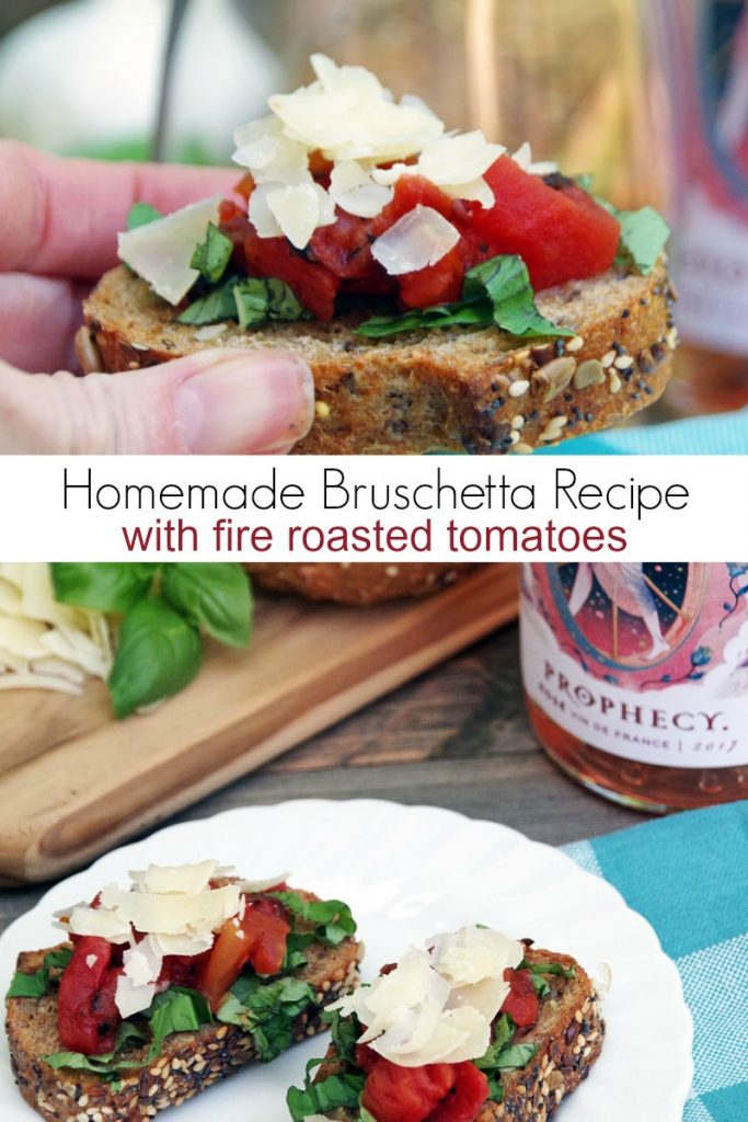 Looking for an easy appetizer recipe for your next get together? Try this homemade bruschetta recipe with fire roasted tomatoes!
