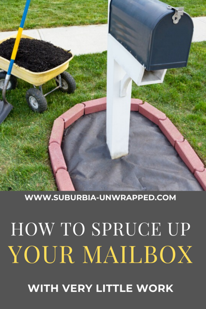 mailbox with wheelbarrow and soil for landscaping project