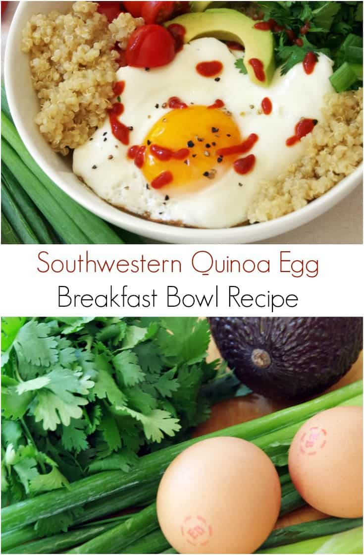 This Southwestern quinoa egg breakfast bowl recipe is an incredibly easy way to get loads of grain, veggies, and protein, into your diet without a lot of work.