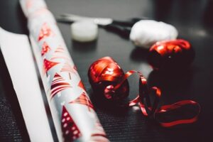 organized gift wrapping supplies