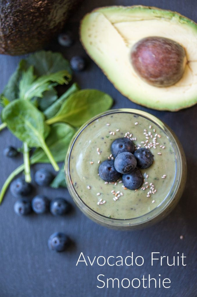 Avocado Fruit Smoothie Recipe with Blueberries and Chia Seeds