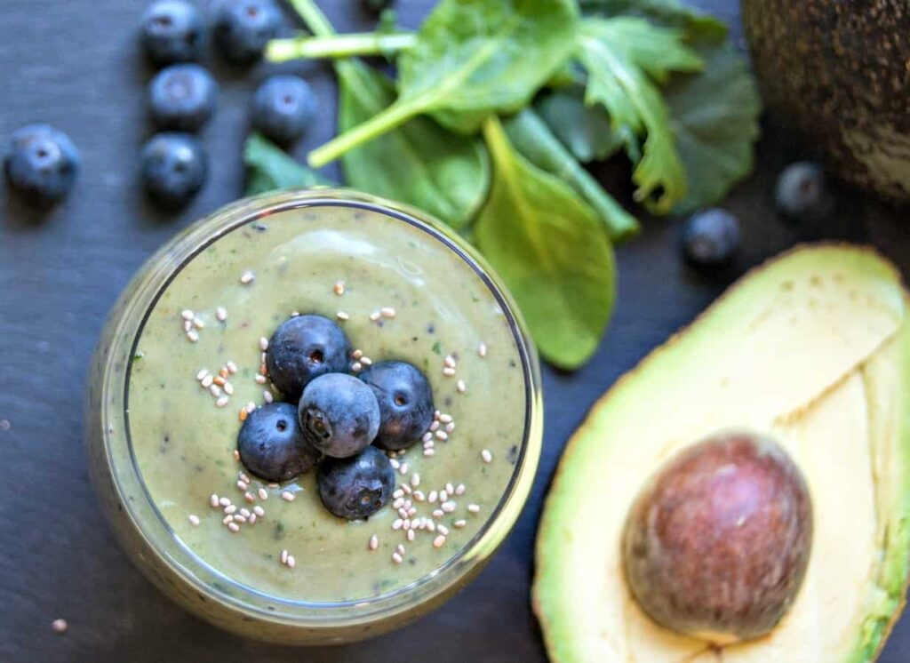 Avocado Fruit Smoothie with Blueberries