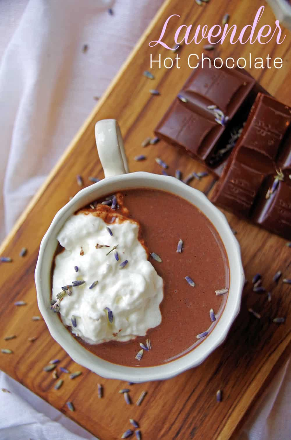 Hot chocolate with whipped cream and lavender