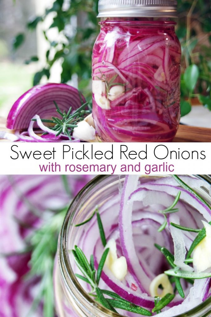 Sweet Pickled Red Onions with Rosemary and Garlic