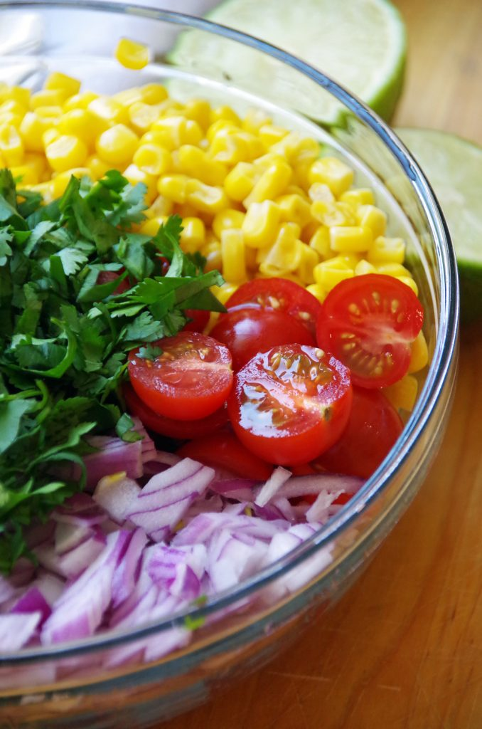 Bowl of Fresh Vegetables for Corn Salsa