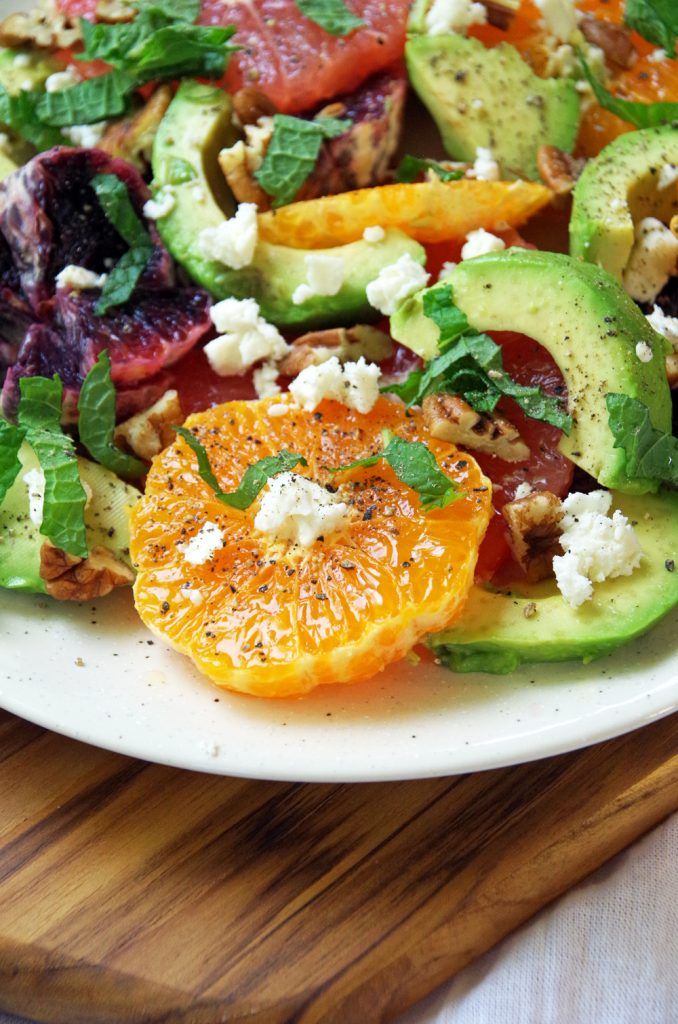 Healthy salad recipe with avocado and citrus