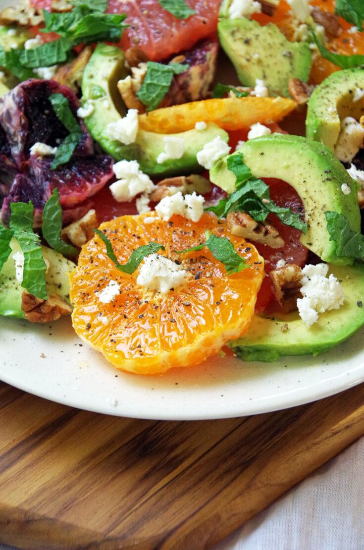Healthy salad recipe with avocado and citrus