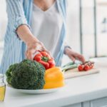 older woman and healthy food