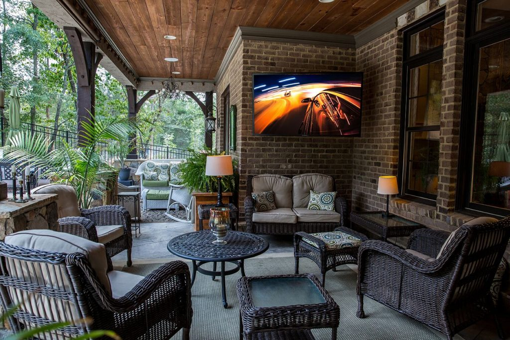 luxurious patio with outdoor television
