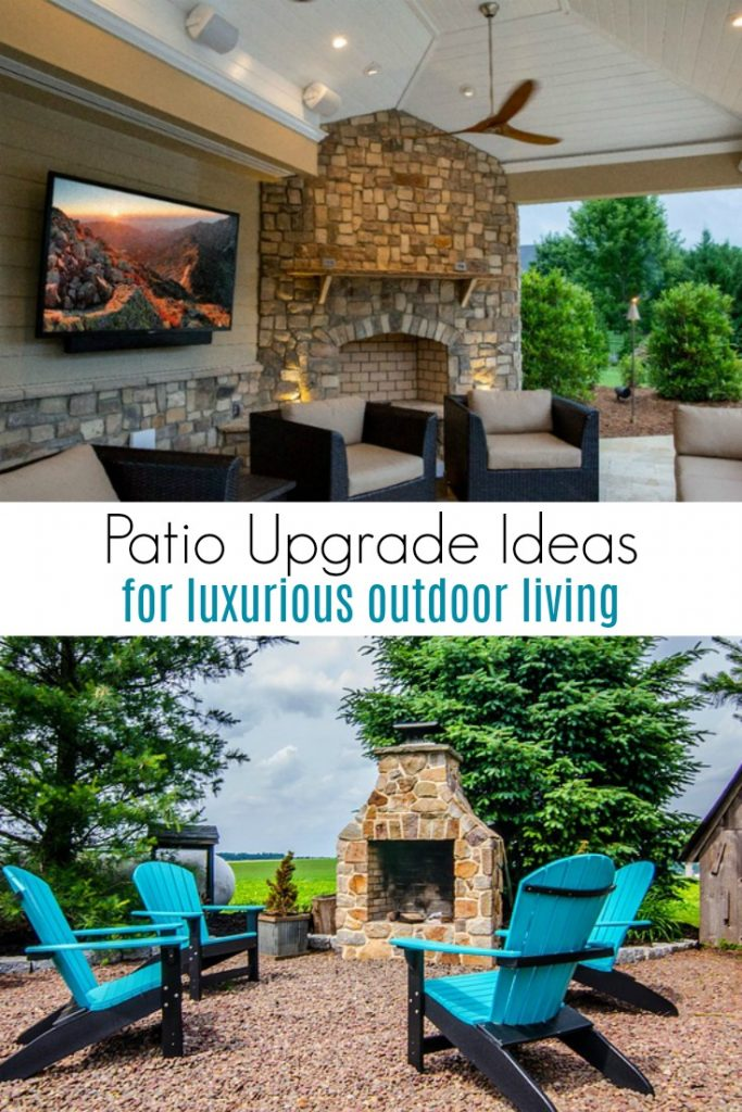 outdoor patios with television, fire pit and outdoor seating