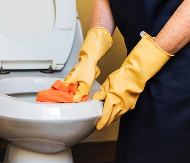 hands in rubber gloves cleaning toilet