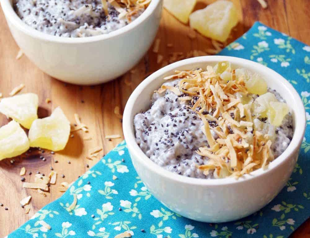Chia Bowl with Coconut and pineapple