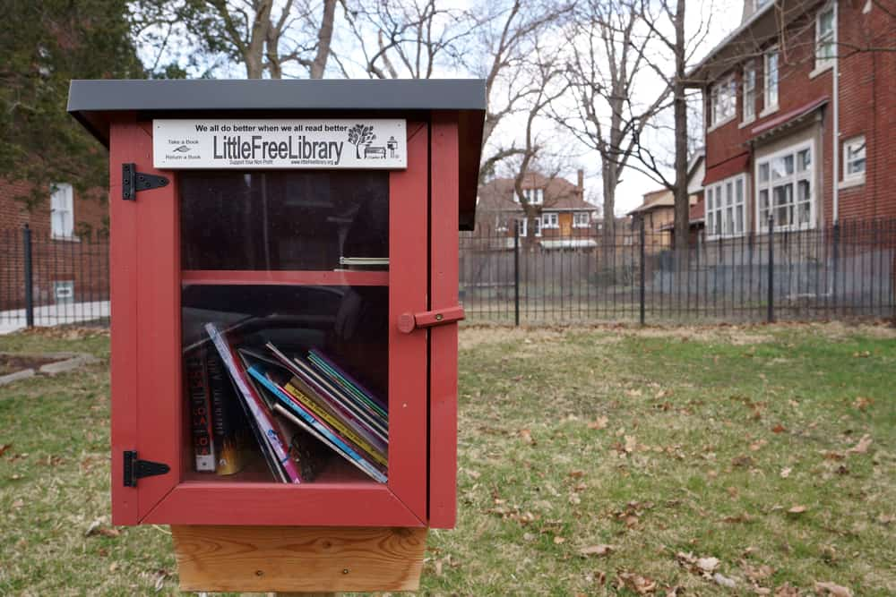 Little Free Library filled with books outside