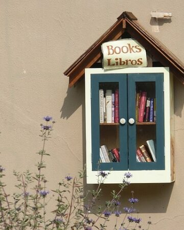 Little Free Library on wall filled with books