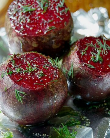 fresh roasted beets with dill