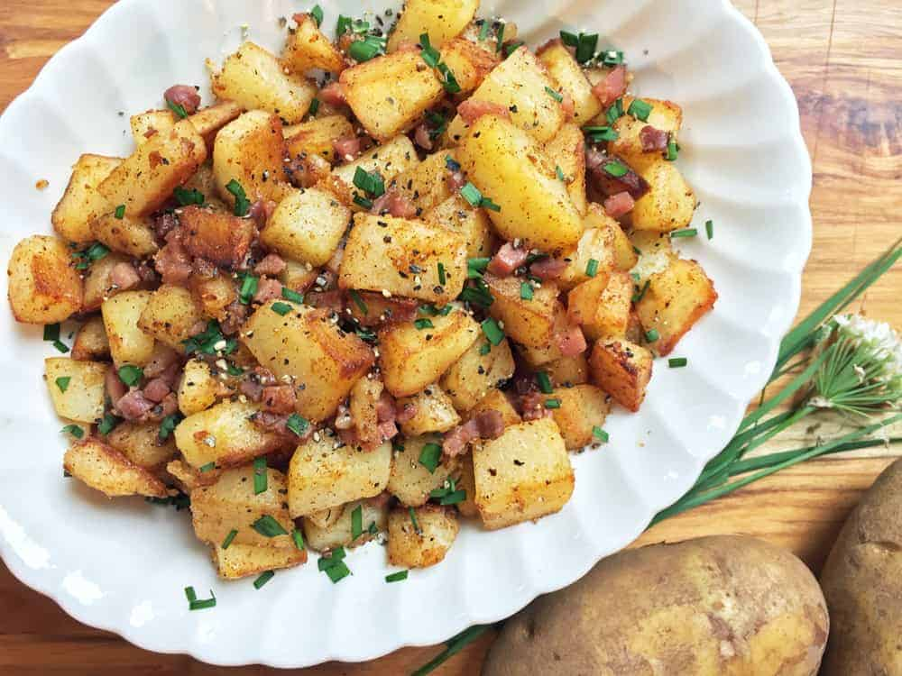 Skillet fried potatoes and fresh chives