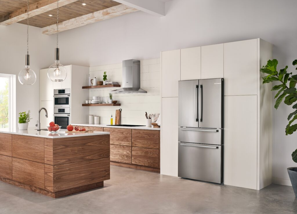 clean modern kitchen with Bosch refrigerator