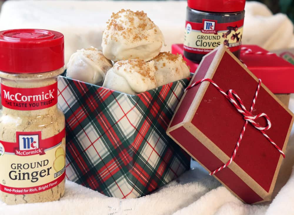 White Chocolate Chai Truffles with McCormick Spices and holiday gift boxes