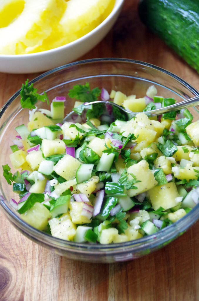 bowl of Summer salsa with cucumbers and pineapple