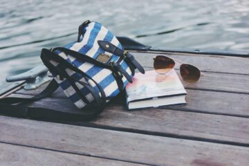 summer image of bag, sunglasses and book