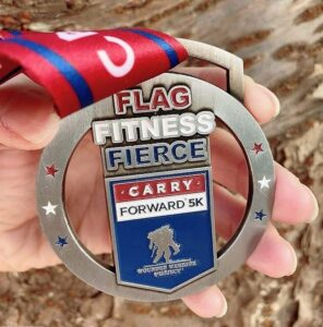 close up of a 5K for a cause medal