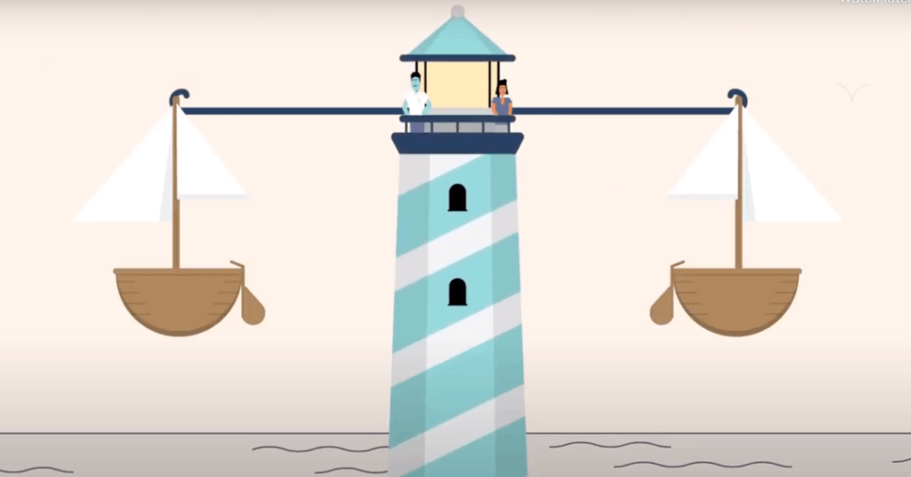 stylized drawing of a lighthouse as a balance to represent the lighthouse parenting style