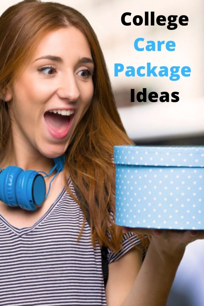 Female college student wearing headphones and holding gift box with text overlay ' College Care Package Ideas '