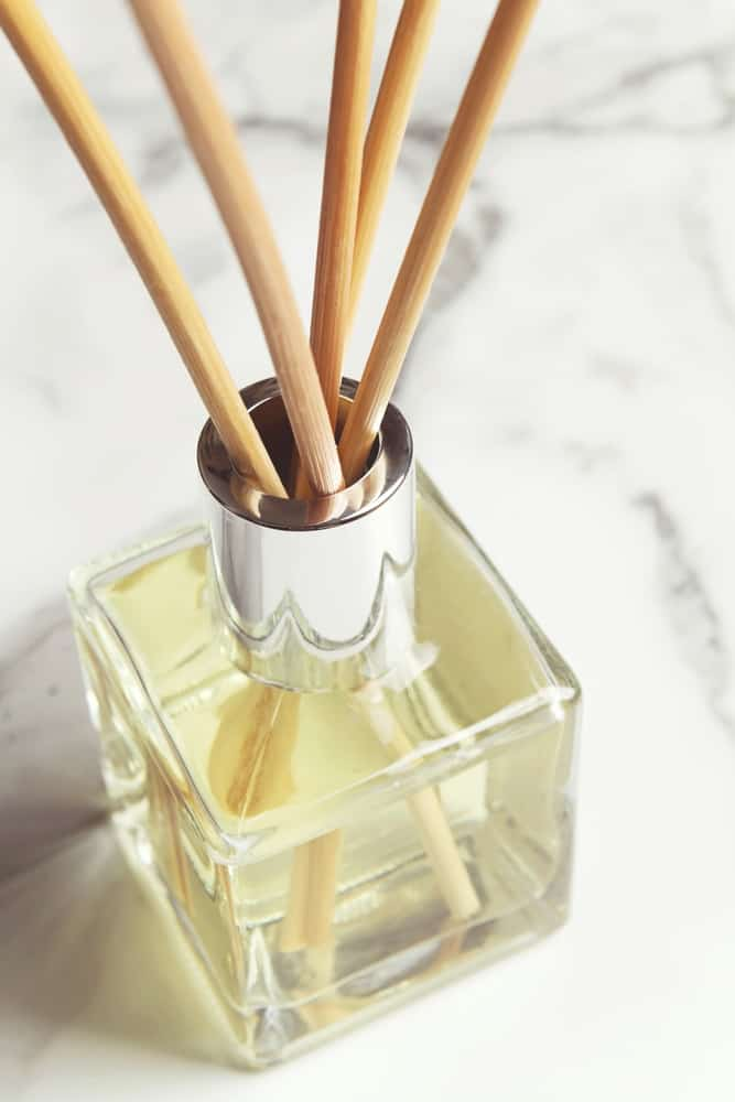 Aromatherapy reed diffuser air freshener bottle close up