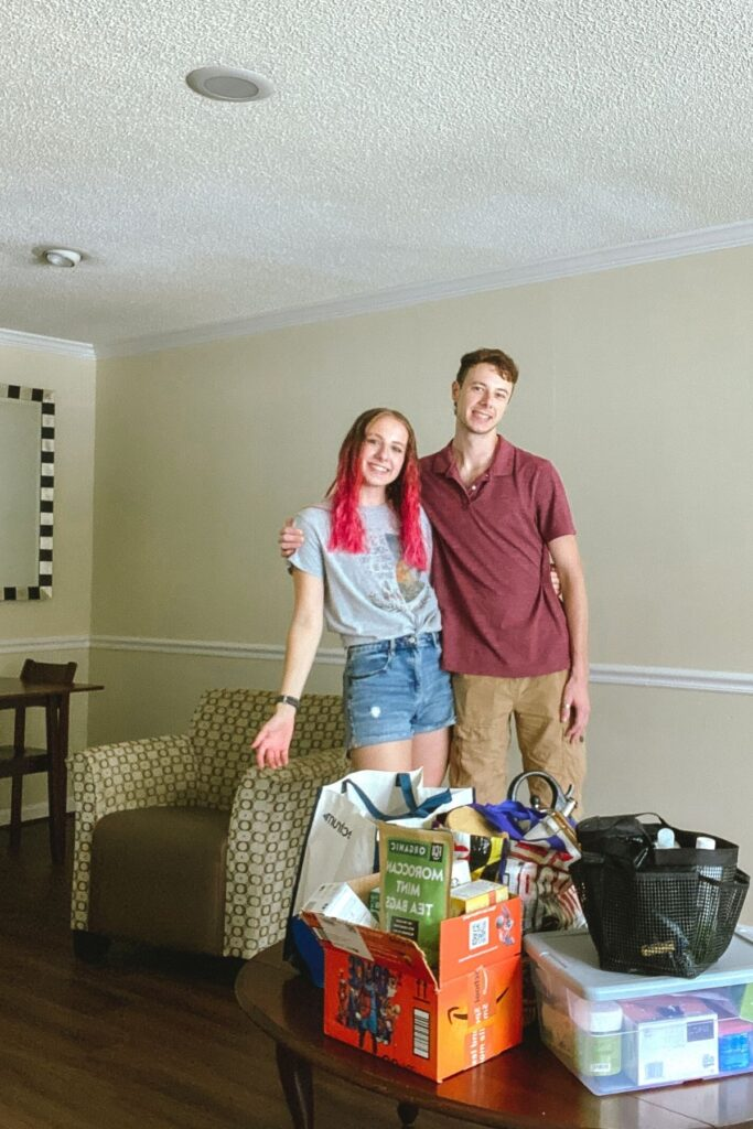 two college students in their first college apartment