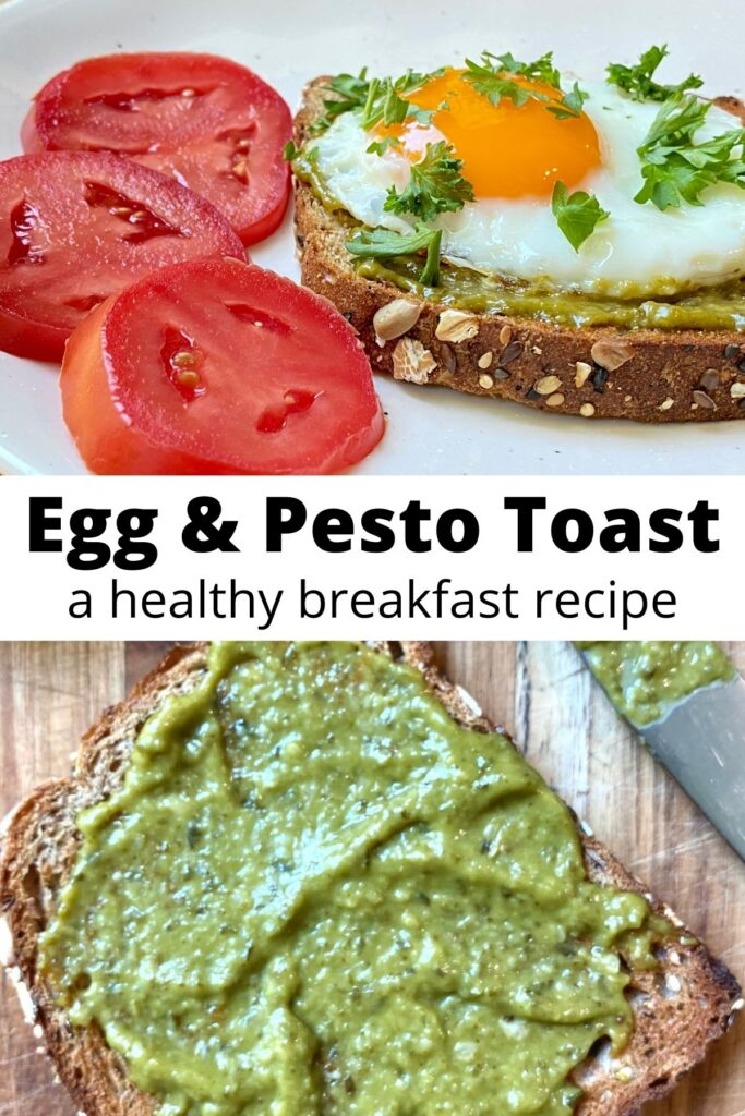 pesto egg toast collage with text overlay 'Egg and Pesto Toast is a healthy breakfast recipe'