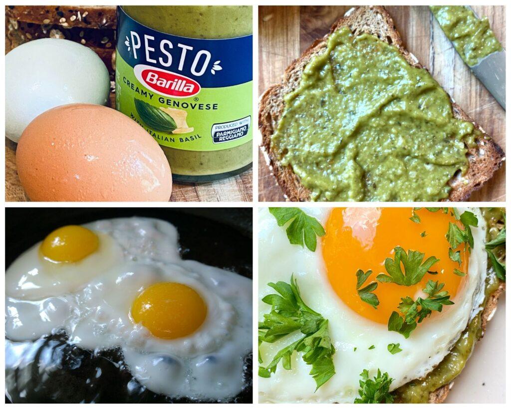 pesto eggs toast ingredient collage